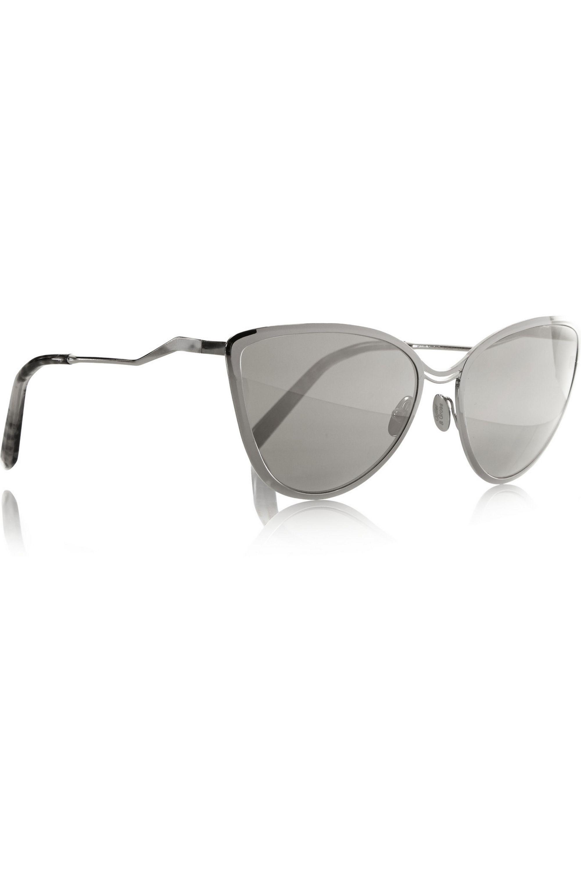 Cutler and Gross Cat-eye nickel mirrored sunglasses