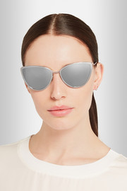 Nickel cat eye mirrored sunglasses