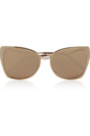 Rose gold-plated D-frame mirrored sunglasses