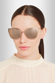 Cutler and Gross Rose gold-plated D-frame mirrored sunglasses