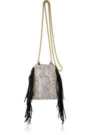 Gary small fringed leather and elaphe shoulder bag