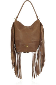 Mario fringed textured-leather tote