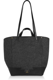 Paco leather-trimmed wool tote