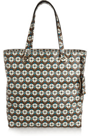 Floral-print textured-leather tote