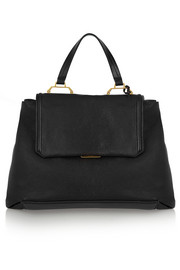 Madras large textured-leather tote