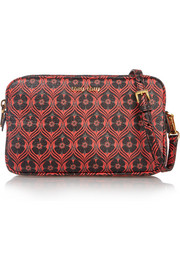 Madras medium floral-print textured-leather shoulder bag