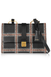 Madras printed textured-leather shoulder bag