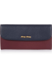 Madras two-tone textured-leather wallet