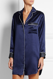 Poppy crepe de chine-trimmed silk-satin nightshirt