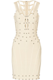 Cutout studded bandage mini dress