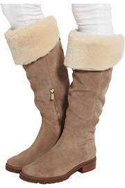 Whitaker shearling-trimmed suede knee boots