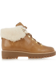 Putnam shearling-trimmed leather ankle boots