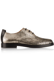 Metallic cracked-leather brogues