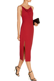 Draped crepe midi dress