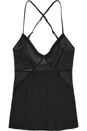Natacha mesh-paneled Swiss-dot jersey camisole