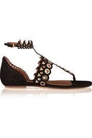 Embellished laser-cut suede sandals