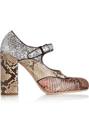 Glitter-finished python Mary Jane pumps
