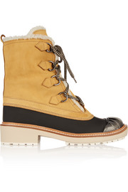 Shearling-lined nubuck and rubber boots