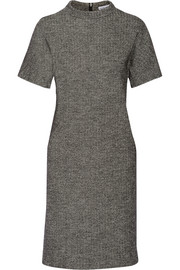 Herringbone cotton and wool-blend dress
