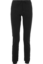 Cotton-jersey tapered track pants