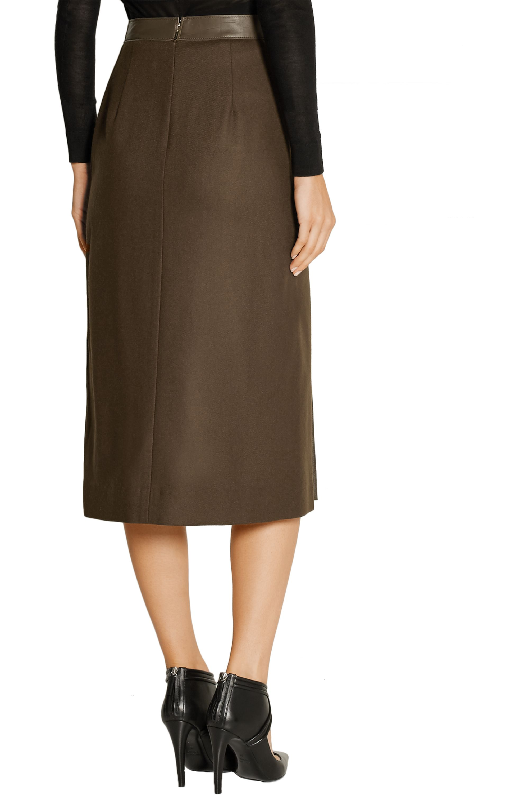 Jason Wu Collection Croc-effect leather and wool midi skirt