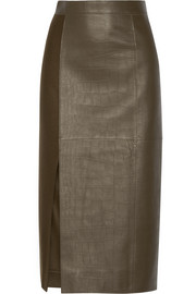 Croc-effect leather and wool midi skirt