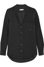 Keira polka dot-print washed-silk shirt