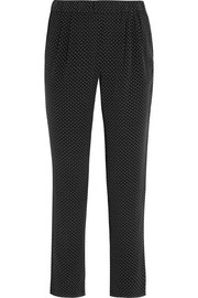 Hadley polka-dot washed-silk tapered pants