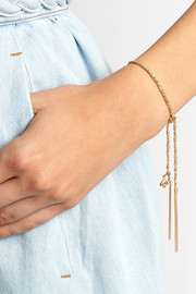Lucky Virtue 18-karat gold and silk bracelet