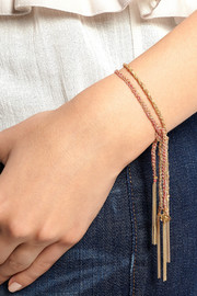 Flower Lucky 18-karat gold and silk bracelet