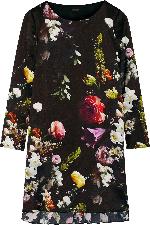 Adam Lippes Pleated floral-print satin mini dress