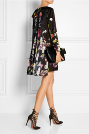 Pleated floral-print satin mini dress
