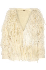 Fringed wool and cashmere-blend cardigan