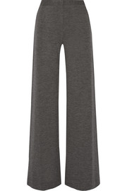 Mélange wool wide-leg pants