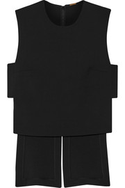 Asymmetric stretch wool-blend crepe top