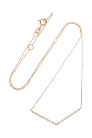 Chevron 18-karat rose gold diamond necklace