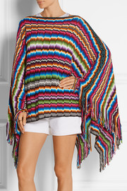 Fringed crochet-knit poncho