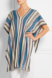 Crochet-knit wool-blend poncho