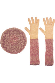Mohair-blend beret and gloves set