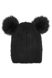 Mimi faux fur-trimmed wool beanie