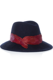 Bianca feather-trimmed wool-felt fedora