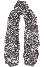 Grace leopard-print modal and cashmere-blend scarf