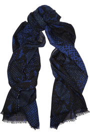 Snake-print cashmere scarf