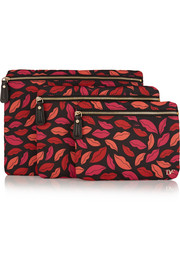 Voyage set of three printed shell pouches