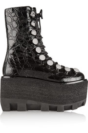 Croc-effect leather platform boots