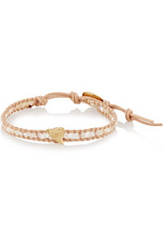 Chan Luu Gold-plated, mother-of-pearl and leather bracelet