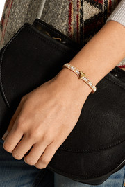 Gold-plated, mother-of-pearl and leather bracelet