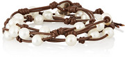 Chan Luu Pearl and leather wrap bracelet
