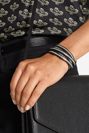 Silver beaded and leather wrap bracelet
