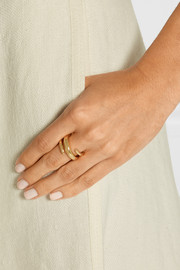 Twisted Cylinder gold-plated ring